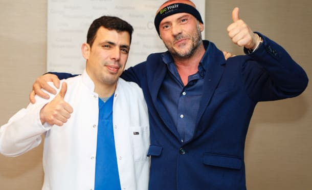 Dr Ibrahim with some of his hair transplant team