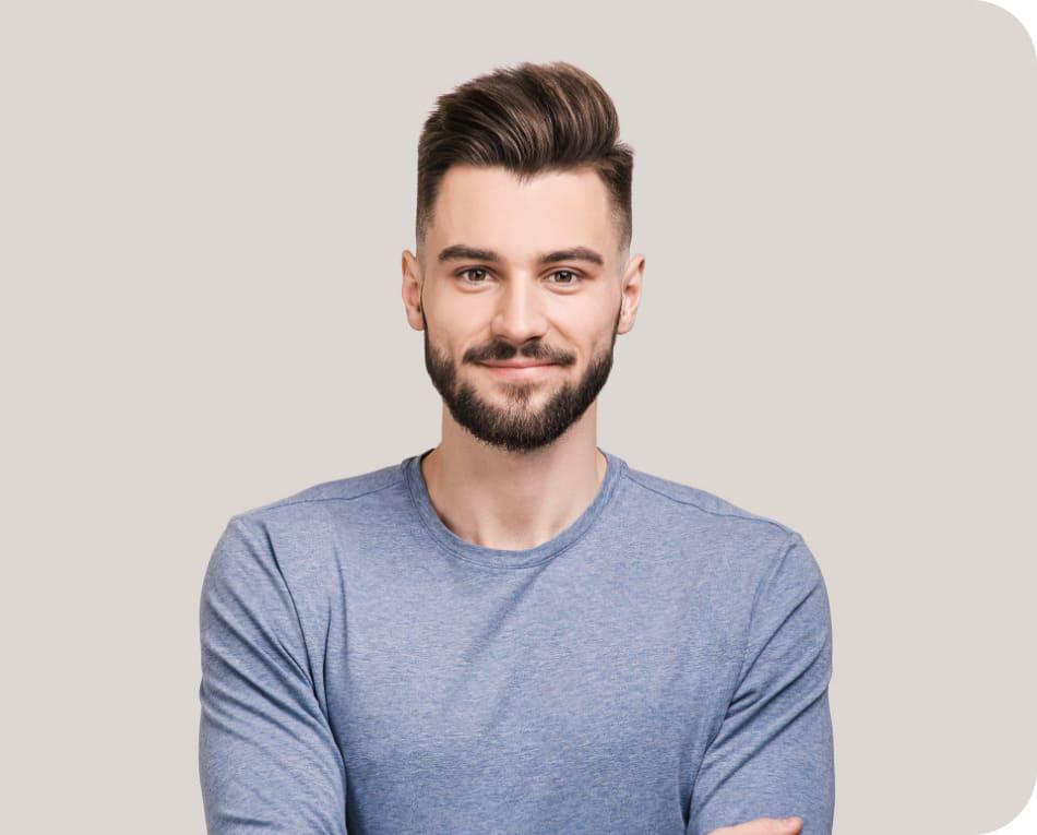 Grafica del giovane dopo il trapianto di capelli