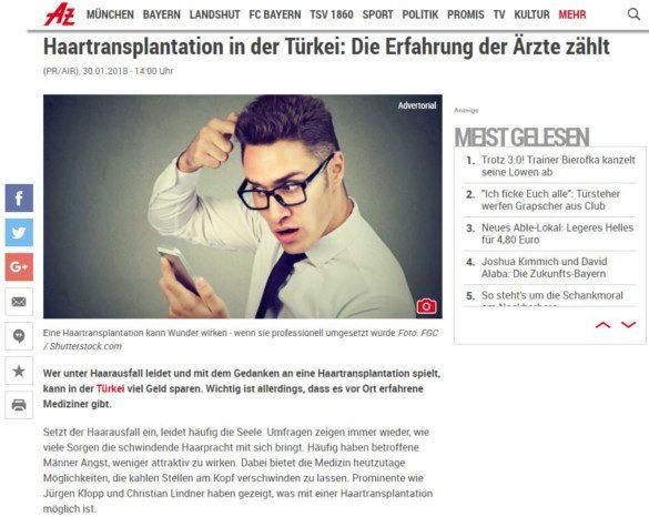 Haartransplantation Türkei - Abendzeitung