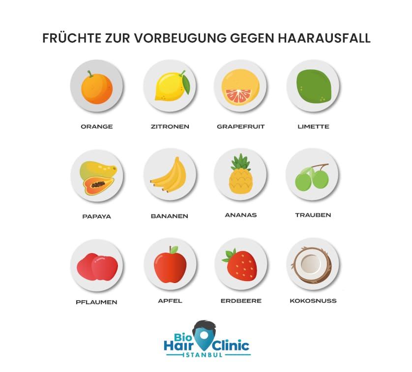 Früchte-Grafik für Ernährung gegen Haarausfall