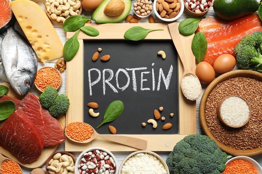 Diverse Nahrungsmittel mit hohem Proteingehalt