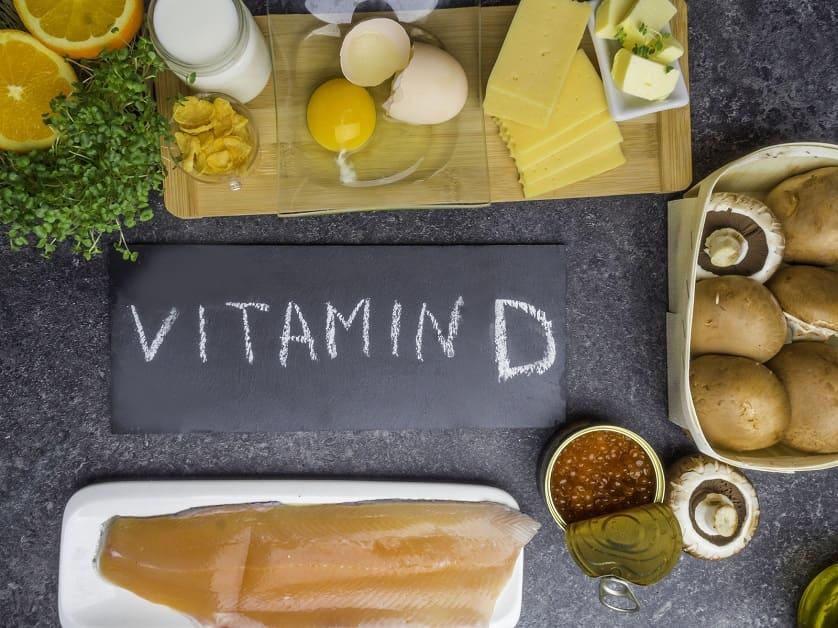 Verschiedene Lebensmittel mit viel Vitamin D