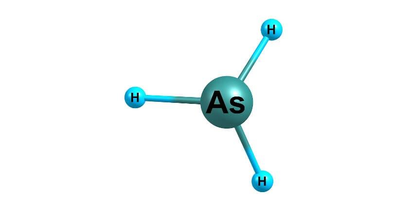 3D Illustration der chemischen Verbindung von Arsen