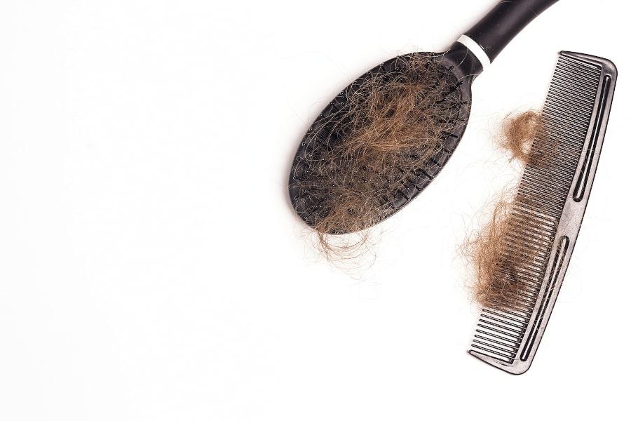 Kamm und Bürste auf weißem Hintergrund mit jeweils einem Büschel ausgefallener Haare